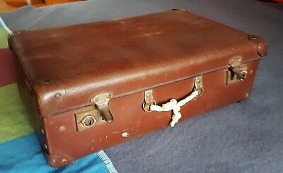 Vintage Small Brown Suitcase For Travel/Display/Storage/Prop