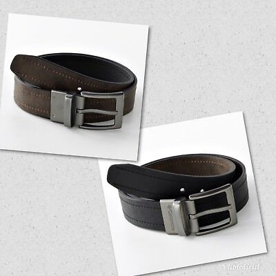 NWT Men's Columbia Logo Buckle Reversible Leather Belt Brown/Black