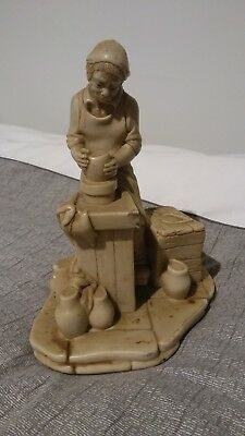 Chetwood Old Man Potter At Wheel Turning Pot - Figurine - circa 1978