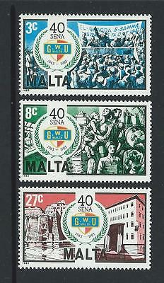 1983 MALTA 40th Anniversary General Workers Union Set MNH (Scott 634-636)