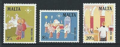 1981 MALTA Semi Postals - Christmas Set MNH (Scott B42-B44)