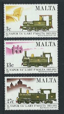 1983 MALTA Centenary Malta Railways Set MNH (Scott 620-622)