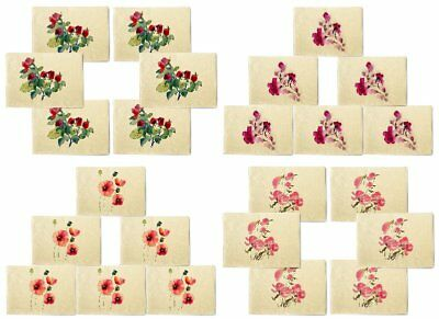 Cute Flower Painting Printed Canvas Placemats 13x19 Inch Set of 6