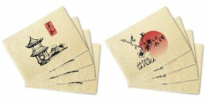 Japan Culture Printed Canvas Table Mats Placemats 13x19 Inch Set of 4