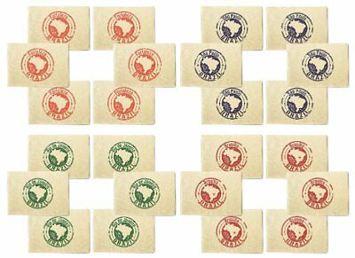 Brazil Stamps Printed Canvas Placemats 13x19 Inch Set of 6