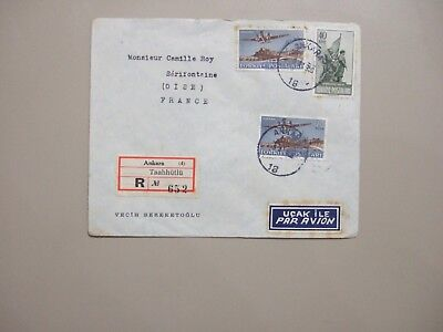 Two '50 registered covers:Egypt w/four stamps,Turkey