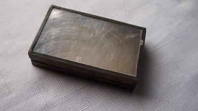 Lovely Antique Clear Shell & Brass Box - Snuff Box?