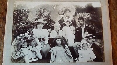 1890's Antique Victorian Photograph Good Family Group With Parasols & Children