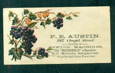 "1880's P.E. Austin ""Household"" Sewing Machines Advertising Business/Calling Card"