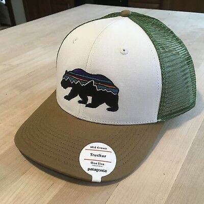 Patagonia Fitz Roy Bear Trucker Hat New With Tags - White With Coriander f68fc30efe55