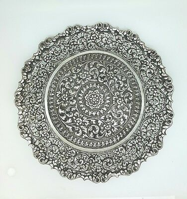 Antique Silver Kutch Indian Silver Repousse Decorative Plate, India, C.1880