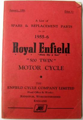 ROYAL ENFIELD 500 Twin 1955-56 Original Motorcycle Owners Parts List
