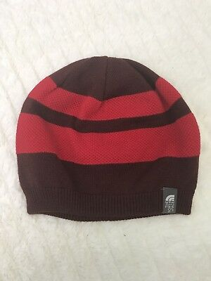 a6660e3fc82ea THE NORTH FACE REVERSIBLE BEANIE Red Maroon Striped New Unisex One Size Wool