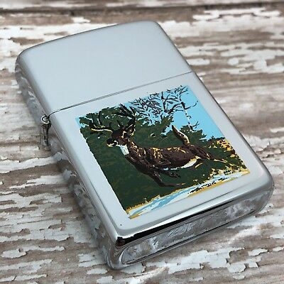 1981 Vintage Zippo Lighter - Transitional Town and Country Deer - Unfired