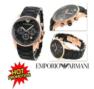 New Genuine Emporio Armani Ar5905 Rose Gold Black Silicone Mens Watch Uk