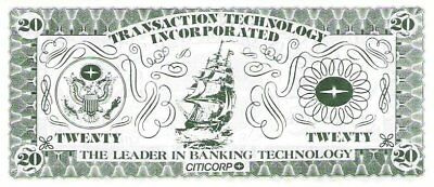 Test note -  TTI-103a, $20, USA seal, sail ship, Transaction Tech Inc UNC