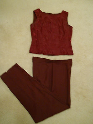 Maurices ~ Misses 2 PIECE PANTS SET ~  Burgandy ~  SIZE 9-10 ~ Made in USA