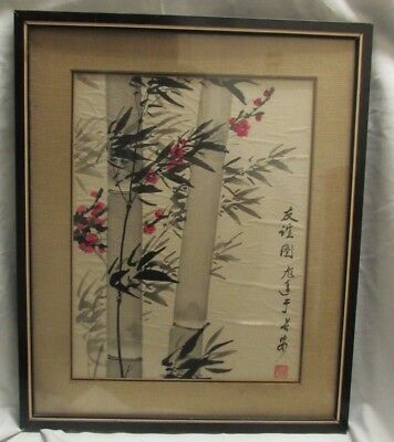 Antique_Vintage? Asian Painting On Paper_Signed Framed Unknown Age & Origin