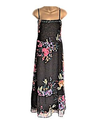c0c8f69f31 Bon Marche Size 22 Black Floral Floatty Ruched Polyester Maxi Dress New