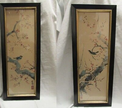 2 Antique_Vintage? Asian Paintings On Paper_Signed Framed Unknown Age & Origin