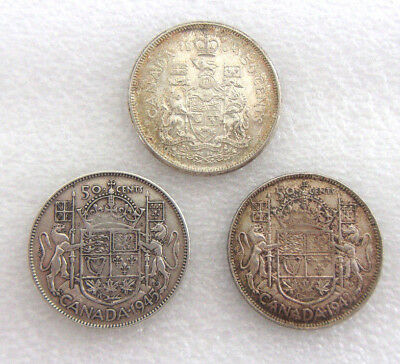 Canada Fifty Cents Lot - 80% Pure Silver - 1943,1945 & 1964 - Total .9000 ASW