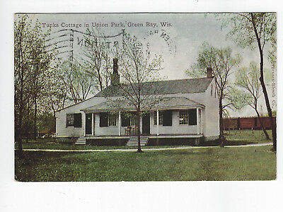 Green Bay Wi Used Postcard 1910 Tanks Cottage Union Park Unusual View