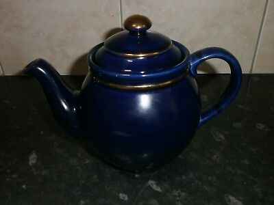 Very Nice Henry's Staffordshire Teapot, Navy Blue With Gilt Trim