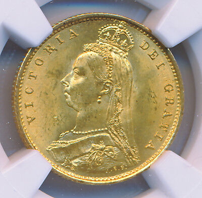 GREAT BRITAIN VICTORIA GOLD 1/2 Sovereign 1887 NGC MS64