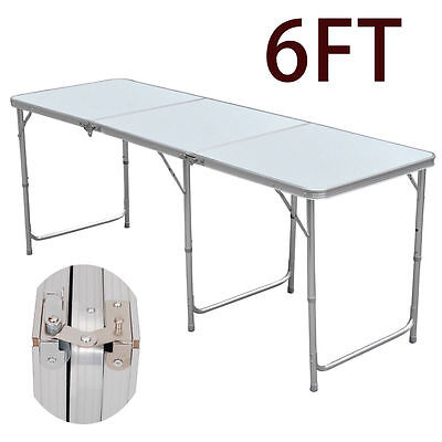 2x 6FT FOLDING TRESTLE TABLE MARKET STALL FAIR TRADE SHOWS DISPLAY FOLDABLE