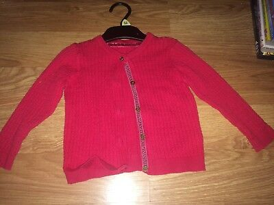 Mothercare Baby Girls 12-18 Months Pink Long Sleeved Cardigan (Ex Cond)