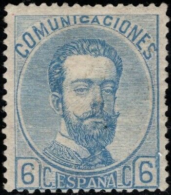 1872.Amadeo. 6 cts azul.Leves machitas, aún asi BONITO. MH. Ed: *119.P.Cat:210€