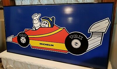 "RARE MICHELIN Man Tires LARGE Vintage Sign Racecar TRX Racing 71"" x 36.5"" x 2"""