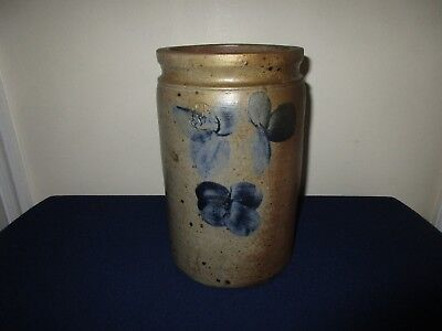 Antique 19th C Stoneware Clover Decorated 1 gal  Peter Hermann Maryland Crock