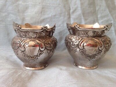 ANTIQUE VINTAGE SILVER PLATE TROPHY ROSEBOWL CUPS WITH CARTOUCHES Not Engraved