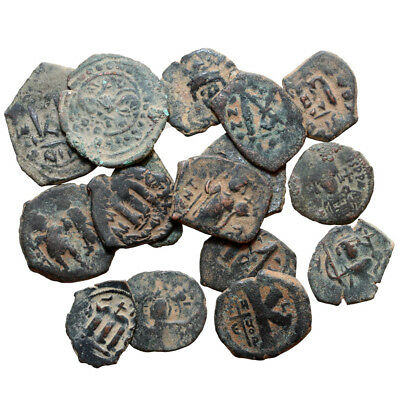 Lot Of 16 Byzantine And Arab Pseudo Byzantine Bronze Coins