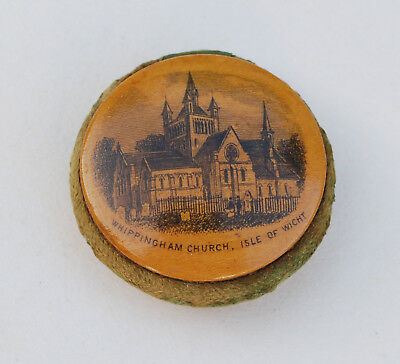 Antique WHIPPINGHAM CHURCH, ISLE OF WIGHT MAUCHLINE WARE PIN CUSHION WHEEL Treen