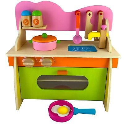 Wooden Toddler Play Kitchen Playset for Children Toy Wooden Educational Pretend