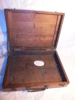 Antique Small Wooden Artist's Box With Thumbhole For Use As Palette
