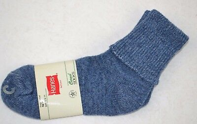 Vintage 1980's HANES Women's Thick Soft ORLON Cuffed Socks Blue 9-11 NOS