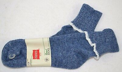 Vintage 1980's HANES Women's Thick Soft ORLON Cuffed Socks Blue/White 9-11 NOS