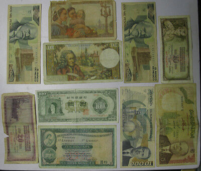 Lot of 14 Paper Currency Notes France Tunisia Korea Hong Kong Mexico Russia