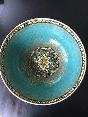 Antique Mintons Minton Centerpiece Bowl Center Medallion Floral Green Gold