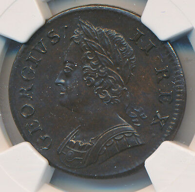 GREAT BRITAIN GEORGE II 1/2 Penny 1750 NGC MS63 BN