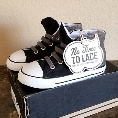 63402203320f Converse Infant Toddler Shoes No Time To Lace Slip On Hi Top Size 10 Black  Gray