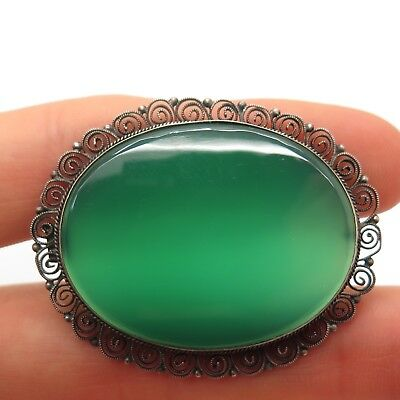 Antique Victorian Sterling Silver Green Agate Collectible Pin Brooch