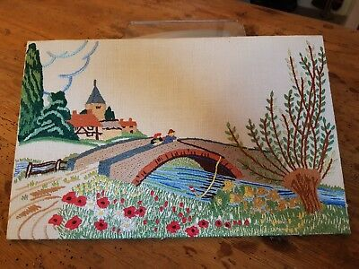 Pretty, Vintage Hand Embroidered Picture