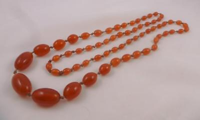 """Antique Art Deco Long 37"""" Opera Length Carnelian Glass Knotted Bead Necklace"""