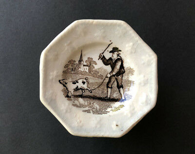 Staffordshire Miniature Pottery Doll-House Plate 'to Market To Market …' 1840