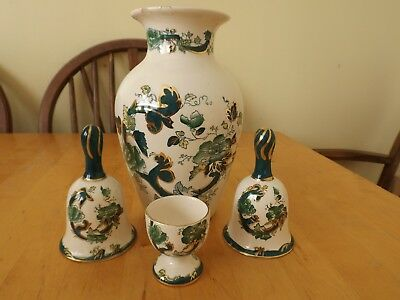 MASONS IRONSTONE CHARTREUSE x 4 PIECES VASE,EGGCUP AND TWO DECORATIVE BELLS