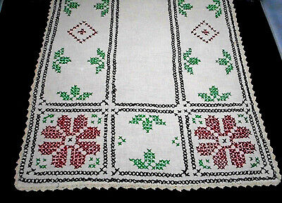 "Vintage Table Runner Scarf 16 1/2 x 46"" Beige Linen Bright Embroidery Crochet"